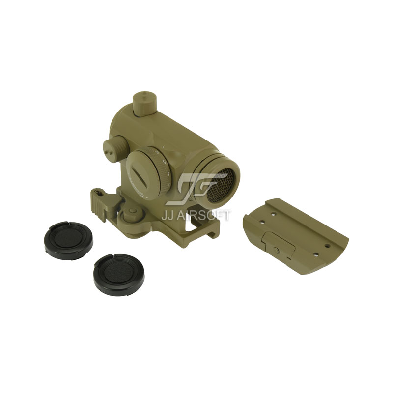JJ Airsoft Micro 1x24 Red Dot with QD Riser Mount , Low Mount & Killflash / Kill Flash (Tan) jj airsoft micro 1x24 red dot with killflash kill flash