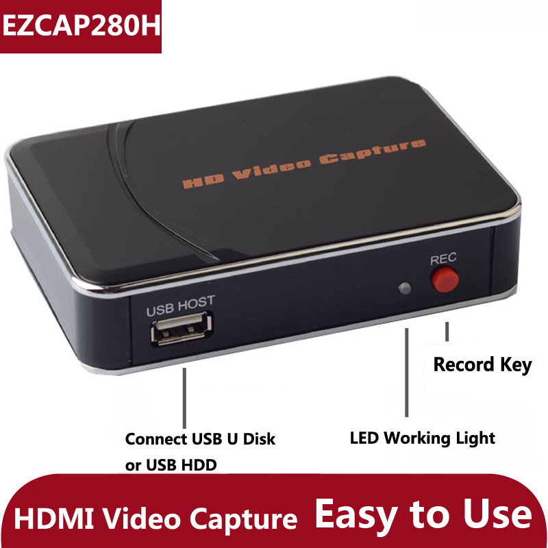 Original Genuine Ezcap 280H HD Game Video Capture Card 1080P HDMI Recorder Box for Xbox PS3 PS4 Video camera TV STB TO USB Disk ezcap 280 hd game capture hd video capture module 1080p hdmi ypbpr recorder ezcap280 for wii xbox 360 ps4 ps4 dvd video camera
