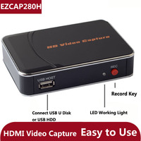 Original Genuine Ezcap 280H HD Game Video Capture Card 1080P HDMI Recorder Box for Xbox PS3 PS4 Video camera TV STB TO USB Disk
