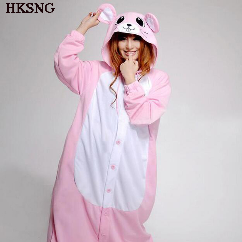 HKSNG Pink Blue Mouse Pajamas Animal Winter Women Cartoon Girls Onesies Adults Kigurumi Costume Homewear Pyjamas For party