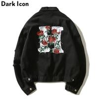 DARK ICON Floral Embroidery Destroyed Turn down Collar Men's Denim Jacket 2018 Autumn Hip Hop Jeans Jacket Black Red