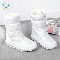 Girls white boots shoes little princess winter boots nice looking Mini snow boots size 25 to 41 hook and loop easy wearing boots
