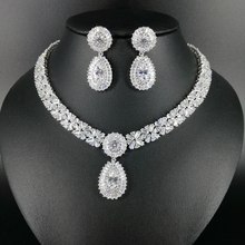 NEW FASHION Retro palace water drop crystal zircon necklace earring wedding bride banquet dress formal jewelry set free shipping