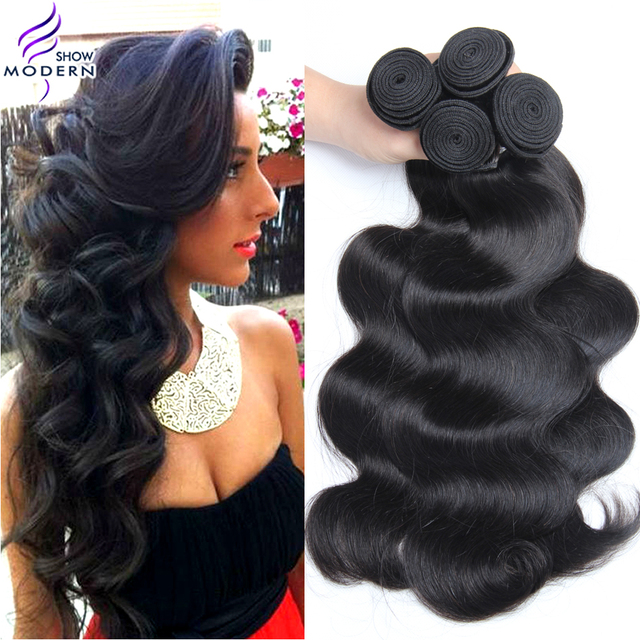 Modern Show Hair Products Mink Brazilian Virgin Hair 4 Bundles Brazilian Body Wave Human Hair Weave Bundles Natural Wavy Wave