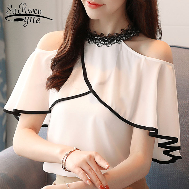 fashion women   blouses   2019 sexy strapless summer women tops white chiffon women   blouse     shirt   blusas feminine   blouses   0518 40