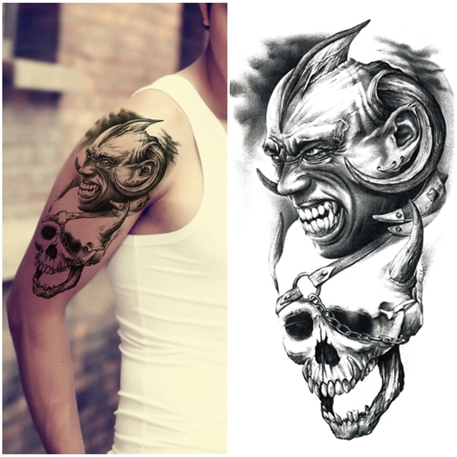 2015 Large Temporary Tattoos Stickers Waterproof Men Arm Leg Fake Transfer Tattoo High Quality Sexy Products Skull Devil Design