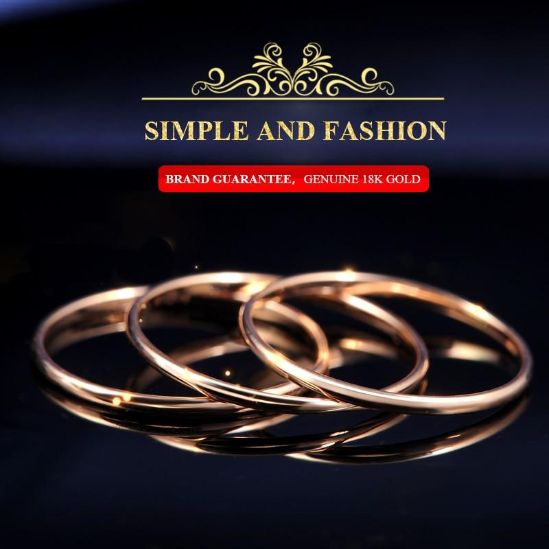 18k Złoto Kobiety Pierścionki Piękne Wykwintne Gładkie Klasyczne - Wykwintna biżuteria - Zdjęcie 3