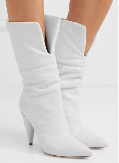 2018 Spring New White Solid Color Pointed Toe Spike Heels Slip On Mid-calf Short Boots Women's Off-white Leather Boots Lady hot selling chic stylish black grey suede leather patchwork boots mid calf spike heels middle fringe boots side tassel boots