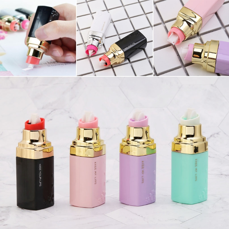 1pc Kawaii Correction Tape Lipstick Shape Correction Tape School Stationery Supplies For Girls Gift