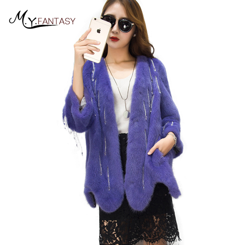 M.Y.FANSTY Meteor Shower Diamonds Natural Mink Coats 2017 Fashion Charming Winter Warm Thin Mink Cloak Designer Women Real Fur
