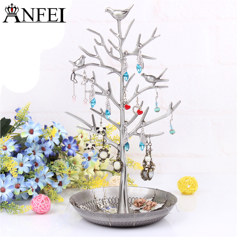 Anfei Jewelry Tree Shaped Jewelry Display Earring Stand Earring Pendants Holder Stud Rack Jewelry Organizer Decoration A156-2