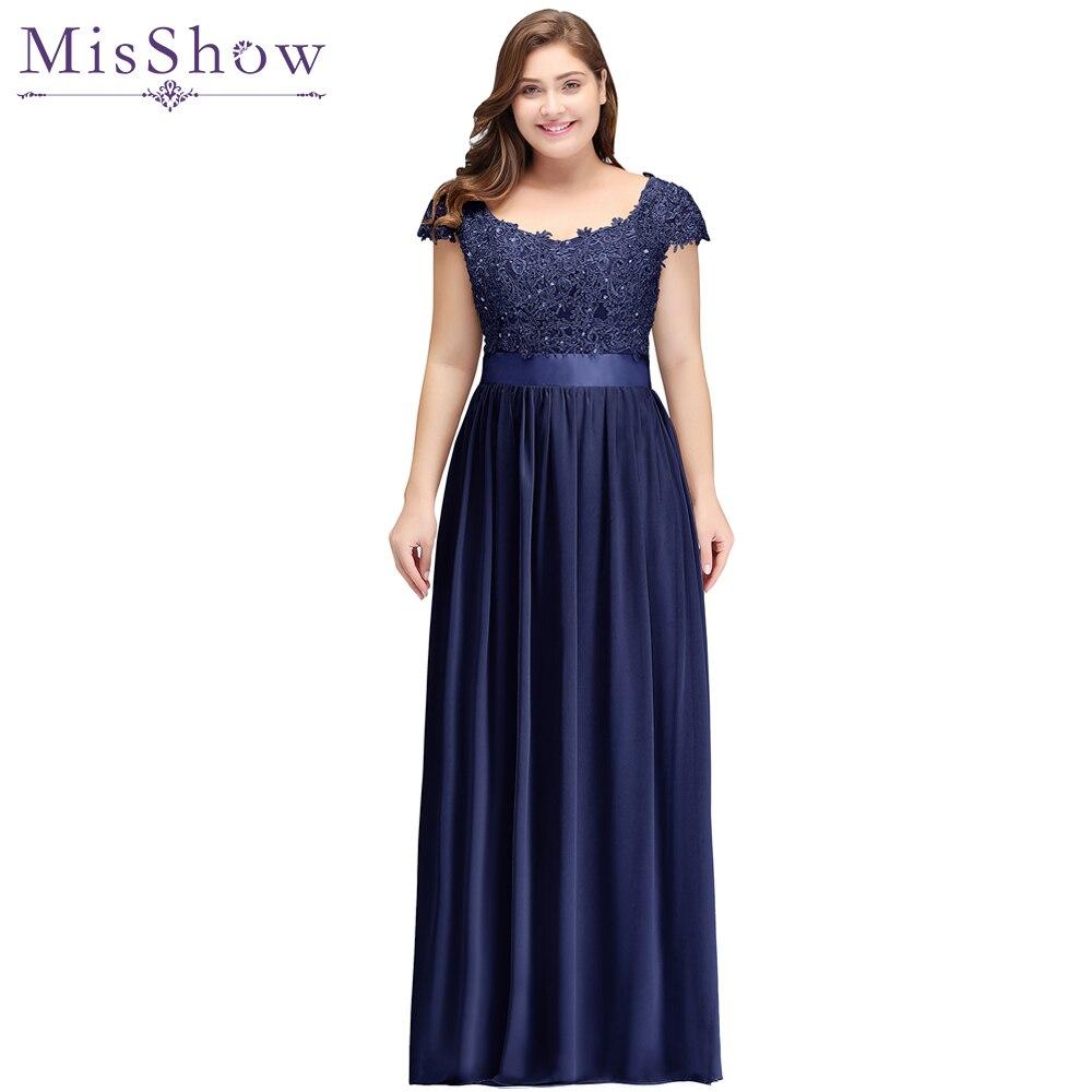 Longue bleu marine mère de la mariée robes de grande taille 2019 mousseline de soie perlée Appliques transparent dos marié mères robes de mariée