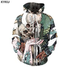 KYKU Brand Skull Sweatshirts men Skeleton Hooded Casual Animal 3d Printed Harajuku Hoody Anime Gothic Hoodie Print Long Sleeve