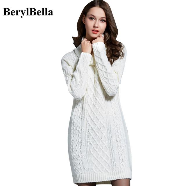 BerylBella Mulheres Suéteres Pulôveres de Gola Alta Manga Longa Vestido de Camisola 2016 Inverno Tricô Suéter Branco Quente Roupas das Mulheres