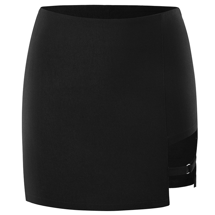 Women Short Skirt Personality Chic Ring Design Skinny Slimming Skirts Pure Color Irregular Sexy Solid Black Asymmetrical  Skirts