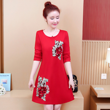 Long Sleeve Chinese Style Flowers Embroidery Dress Women Red Elegant Plus Size 5XL Fashion A Line Black Autumn Robe Femme