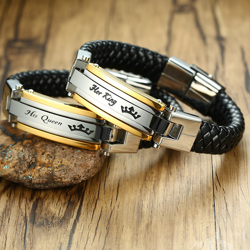 Her King - His Queen Stainless Steel Braided Leather Bracelet in Black Couple Jewelry For Him And Her Bangle Braslet 8.8