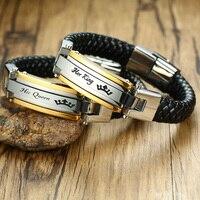 Son Roi-Sa Reine Acier Inoxydable Tressé En Cuir Bracelet en noir Couple Bijoux Pour Lui Et Son Bracelet Braslet 8.8