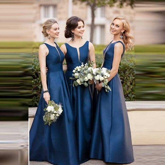Elegant Sleeveless Bridesmaid Dresses Long Satin High Quality Party Gowns Wedding Dresses Sexy Vestido Longo
