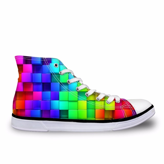 284ceafc1ae85 US $30.59 49% OFF Noisydesigns High top canvas Men sneakers vintage  vulcanized lace up flat shoes Male rainbow color checkered 3D print boys  shoes-in ...