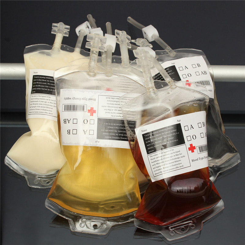 Hot Sale 5pc set 300ml Blood Juice Energy Drink Bag Halloween Party Pouch Props Vampires Clear