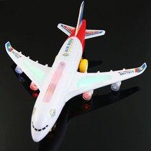 Синий свет универсальный Airbus A380 модель самолета мигает звуковой электрический самолет Для детей игрушка автоматов подарки рулевого управления
