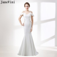 JaneVini Modest White Mermaid Prom Dress 2018 Long Bridesmaid Dresses for Women Train Lace Beaded Wedding Guest Gown Party Wear