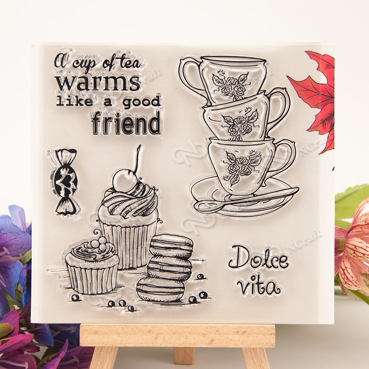 Dessert and tea Transparent Clear Silicone Stamp/Seal for DIY scrapbooking/photo album Decorative clear stamp sheets about loving heart design transparent clear silicone stamp for diy scrapbooking photo album clear stamp christmas gift ll 278