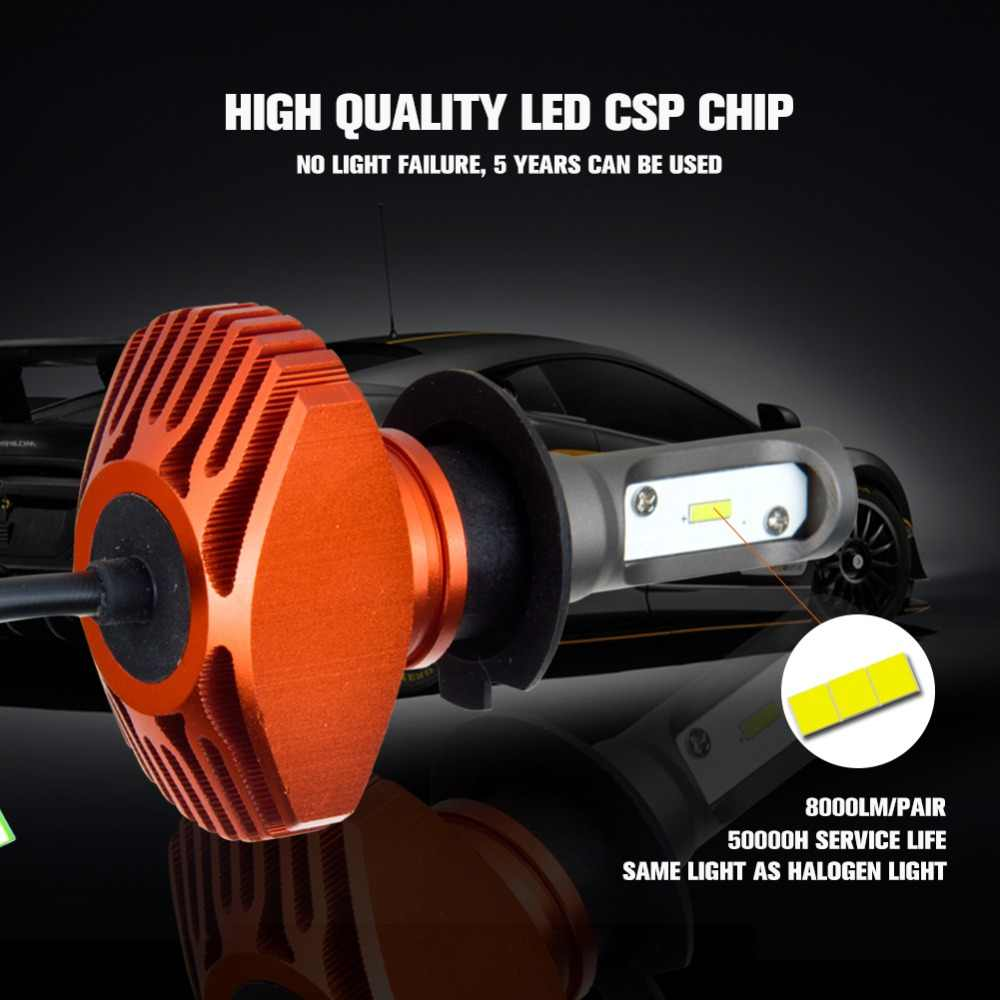 Aceersun 1PCS LED H4 H7 H8 H11 H9 9005 9006 H1 HB3 HB4 9012 Car Headlight Fanless 6500K CSP Chip 8000LM Auto 12V 80W truck 24V