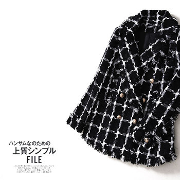 New WT0009 new autumn and winter checker small fragrant wind lapel black wool temperament coat female thin