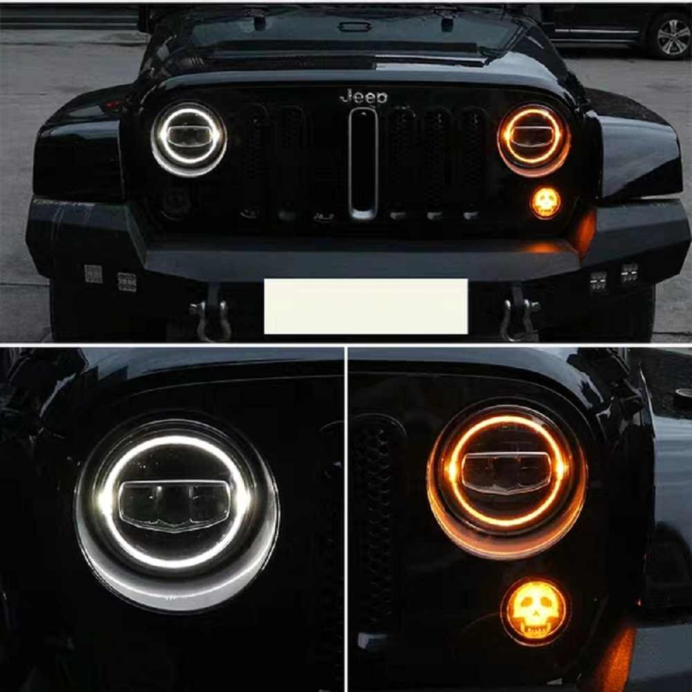 Halo Lights For Jeep Wrangler >> New Car Accessories 7 Inch Led Headlights Drl Halo Amber Turn Light For Jeep Wrangler Jk Tj Cj Lj Rubicon Sahara Unlimited