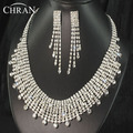 Elegant Women Jewelry Rhodium Plated Rhinestone Necklace Earrings Sets Promotion Charm Imitation Diamond Wedding Jewelry Sets