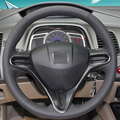 Black Leather Hand-stitched Car Steering Wheel Cover for Honda Civic Old Civic 2004-2011