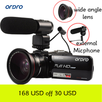 Ordro HDV Z82 Video DSLR Camera 10X Optical Zoom 24MP 1080P Camcorder with External Microphone Wide Angle Lens Digital Camera