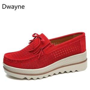 Image 2 - Dwayne 여성 플랫 플랫폼로 퍼 숙 녀 우아한 정품 가죽 Moccasins 신발 캐주얼 여성 신발에 여자 가을 슬립