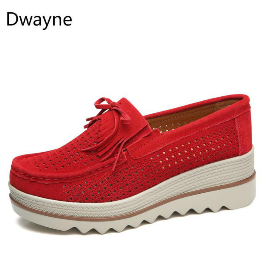 Image 2 - Dwayne Women Flats Platform Loafers Ladies Elegant Genuine Leather Moccasins Shoes Woman Autumn Slip On Casual Women's Shoes-in Women's Flats from Shoes