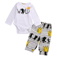 Baby Boy Girl Clothes Sets 2017 Christmas Gift Printed Long Sleeve Tops Romper Long Pants Striped