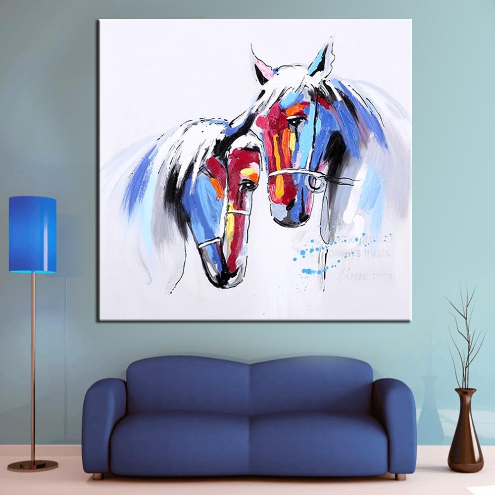 Настенное Искусство Ручная роспись лошадь в любви Современная животные масло покраска стены декоративный Картина на холсте для гостиной домашний декор
