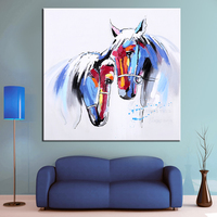 Wall Art Hand Painted Horse in Love Modern Animal Oil Painting Wall Decorative Canvas Art Picture for living room Home Decor
