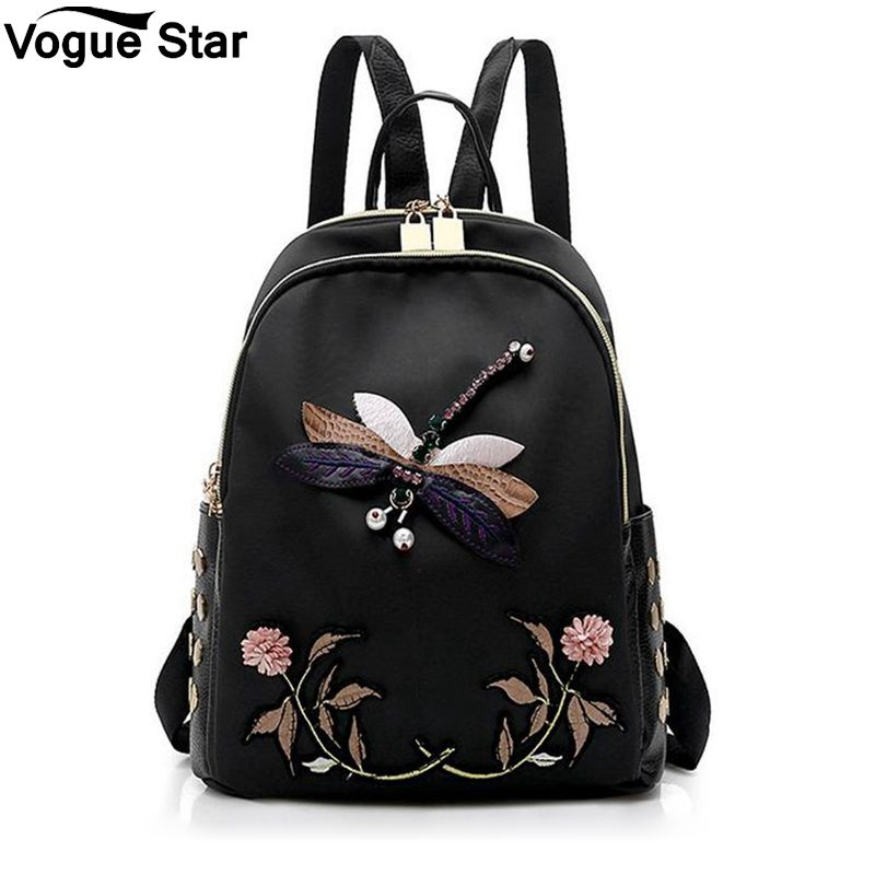 Hot Fashion Dragonfly Embroidery Backpacks Women Nylon School Bags For Teenage Girls Flower Travel Female Backpack M28