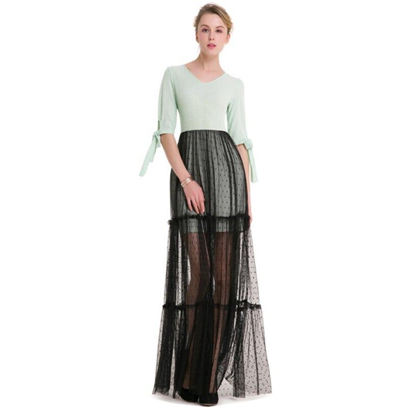Hohe Qualität Kleider Frauen 2018 patchwork Neue Foto Süße Stitching Spitze Mesh maxi Spitze Ärmeln Kleid Kleidung Vesditos VB1