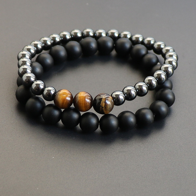 2pcs Set Meditation Matte Black Stone Stacking Beaded Bracelet For Men Jewelry Fashion Yoga Balance