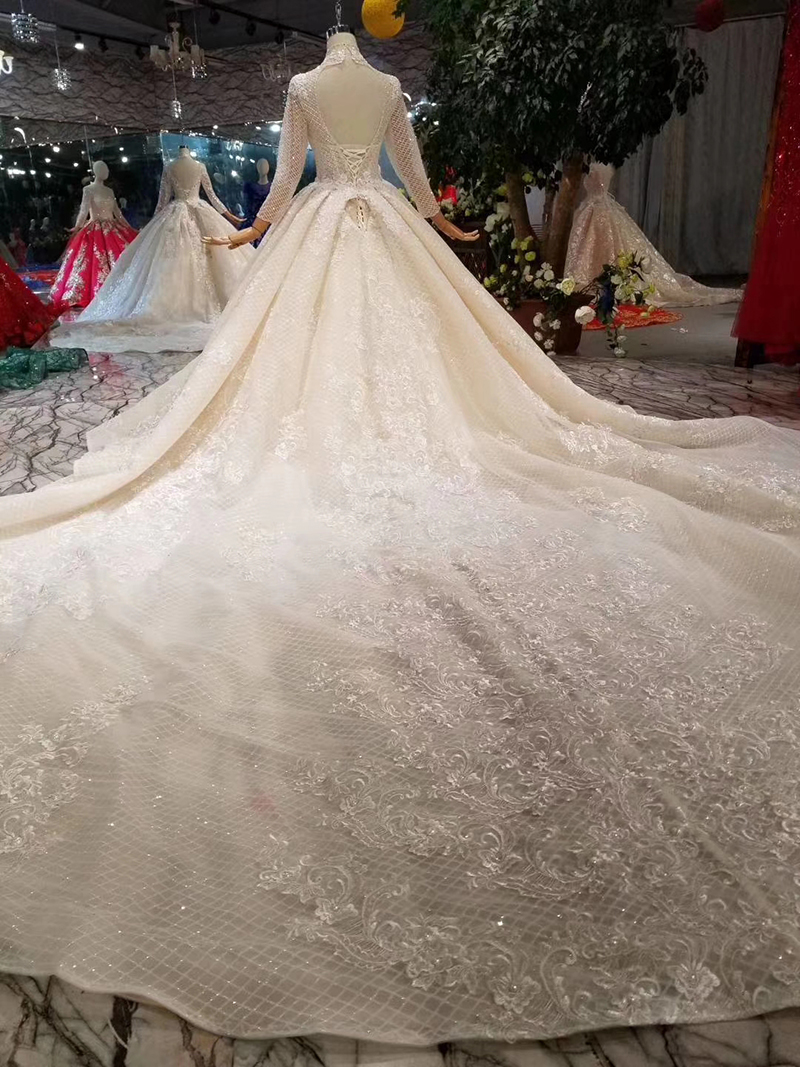 Image 2 - LSS446 long sleeves wedding dresses high neck open keyhole back wedding gowns lace appliques see through bridal wedding dressWedding Dresses   -