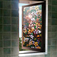 Thickening No Glue 3D stained Magnolia Window Film static tinting frosted Decorative Privacy Stickers 40/45/50/60/70/80*100cm