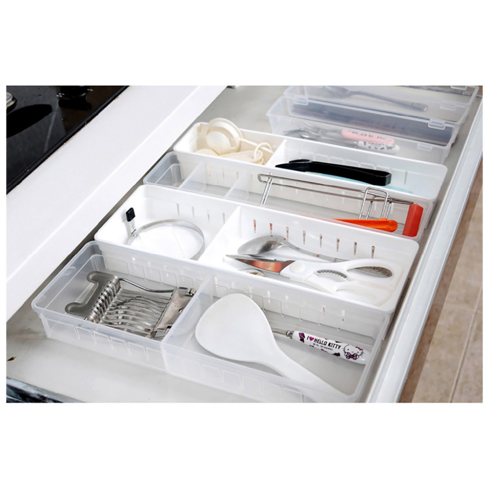 Home Kitchen Storage Basket Board Divider Adjustable Sundries PP Storage Box Drawer Organizer Box Cabinet Underwear Storage Bag makeup organizer box