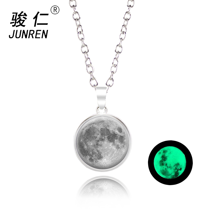 NEW Quick Sell Glow In The Dark Moon Necklace 18mm Galaxy Planet Glass Pendant Necklace Silver Chain Luminous Jewelry Women Gift
