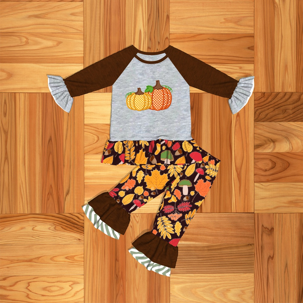 Conice Nini 2019 New Arrival Boutique Girls Halloween Pumpkin Outfit Toddler Baby Girls Halloween Clothes 2GK907-1387-HY