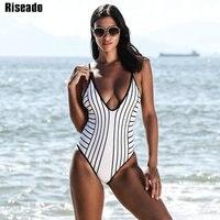 Riseado 2018 New One Piece Swimsuit Female Sexy Deep V Striped Swimwear Women Open Back Strap