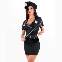Hot Sale Black Police Party Costume Sexy Female Police Uniform Style Cosplay Ladies Fashion Costume W418568