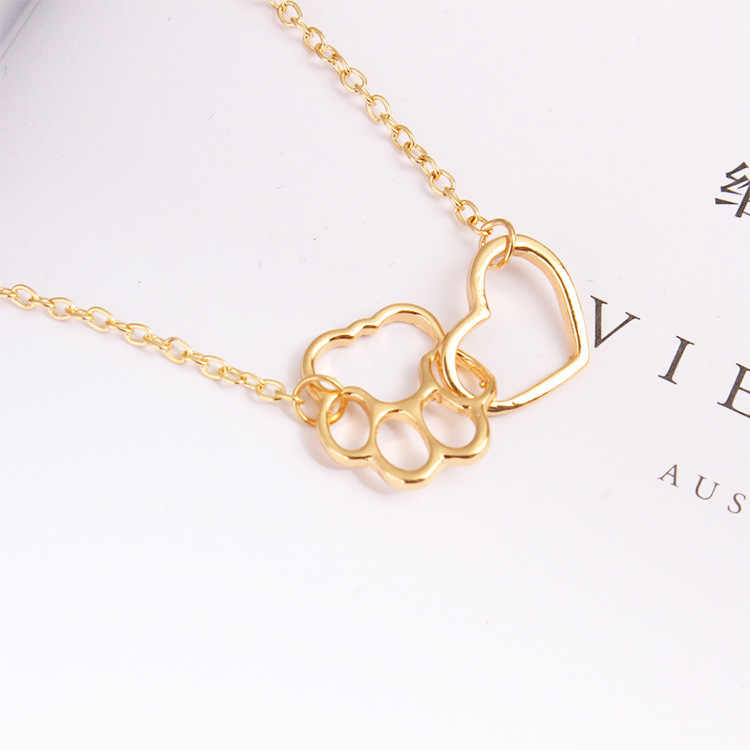 Fashion Necklace Material Sole Dog Paw Heart Pendant Chain Hollow Clavicle Jewellery Statement Necklace Steampunk